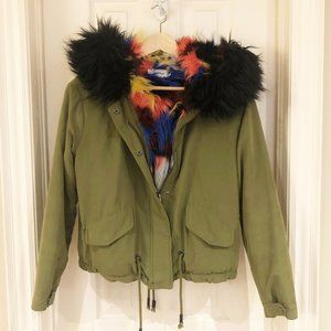 Only Colourful Faux Fur Cropped Bomber Jacket